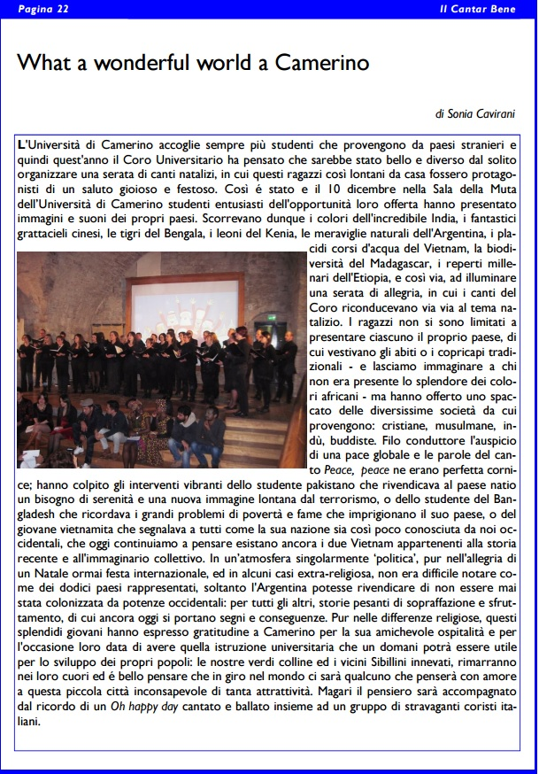 """""""Il cantar Bene"""" a Pagina 22"""
